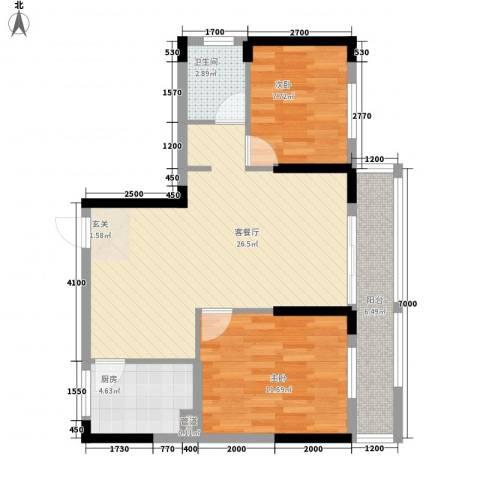杏信花园2室1厅1卫1厨86.00㎡户型图