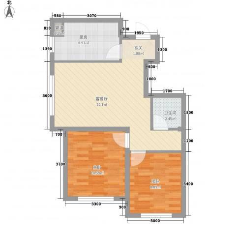 思明农行宿舍2室1厅1卫1厨73.00㎡户型图