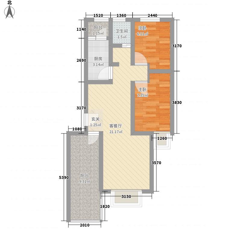 郑东百合74.00㎡一期D奇数层户型2室2厅1卫1厨