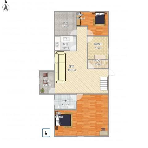 湖畔花园2室1厅1卫1厨144.00㎡户型图