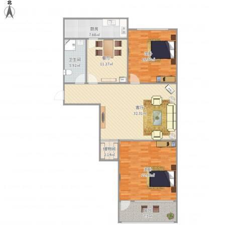 历城五中宿舍2室2厅1卫1厨140.00㎡户型图