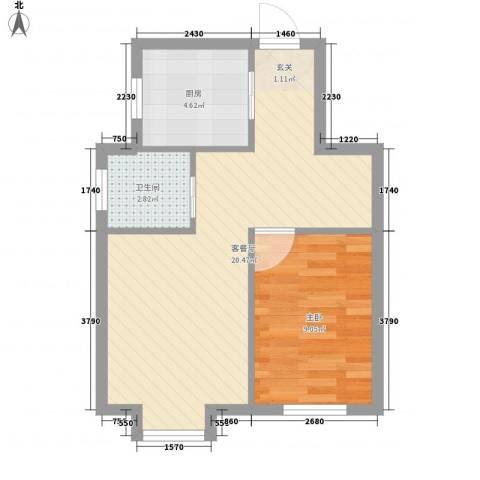 东方嘉苑1室1厅1卫1厨53.00㎡户型图