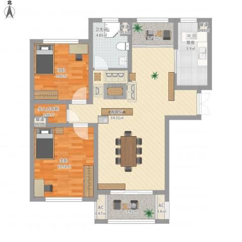 银洲皇家花园2室1厅1卫1厨114.00㎡户型图