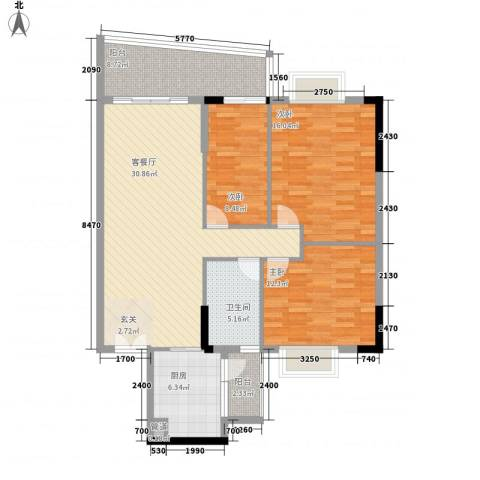 中顺领御公馆3室1厅1卫1厨128.00㎡户型图
