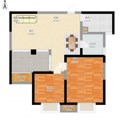 嘉德・水韵金阁2室1厅1卫1厨114.00㎡户型图