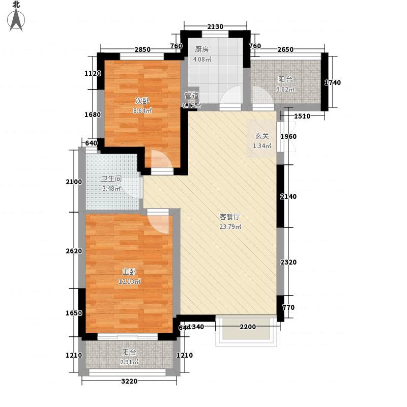 鑫苑逸品香山87.20㎡二期4-C户型2室2厅1卫