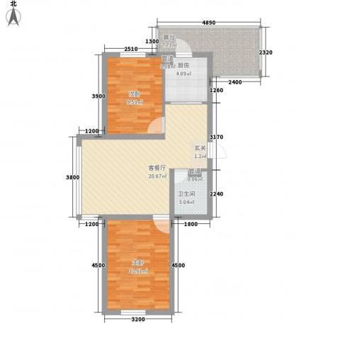廊桥国际2室1厅1卫1厨57.88㎡户型图