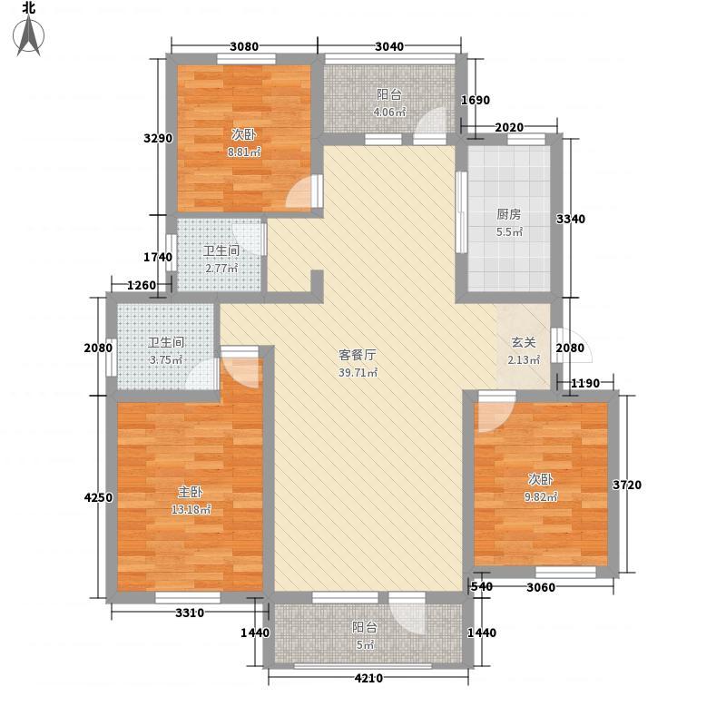 塞纳波斐133.00㎡17-27#F户型3室2厅2卫1厨
