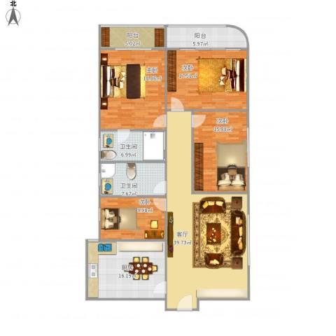 武汉大厦4室1厅2卫1厨192.00㎡户型图