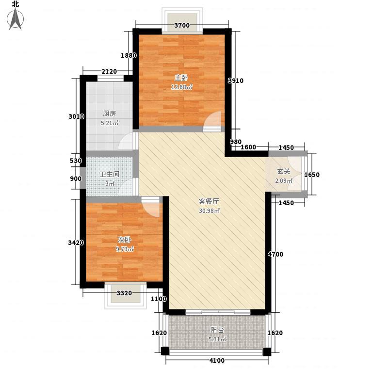 亚太嘉园6.30㎡3号楼户型2室1厅1卫1厨