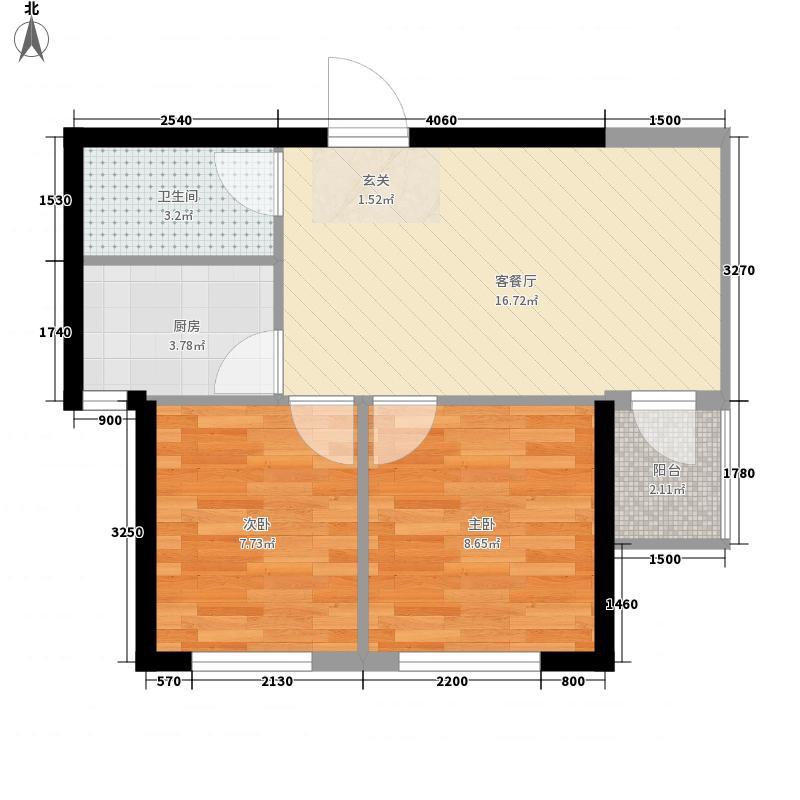 心海阳光66.75㎡3号楼F户型2室1厅1卫1厨
