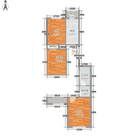 龙锦苑东一区3室1厅1卫1厨101.00㎡户型图