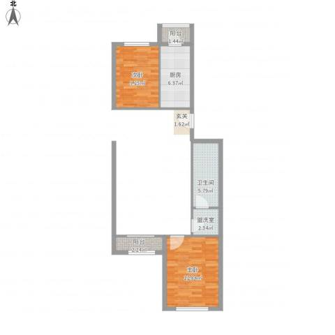 龙锦苑东一区2室1厅1卫1厨59.00㎡户型图