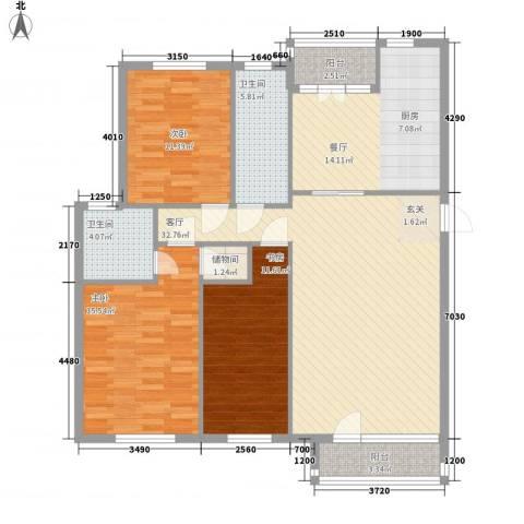 汇益华庭3室2厅2卫0厨143.00㎡户型图