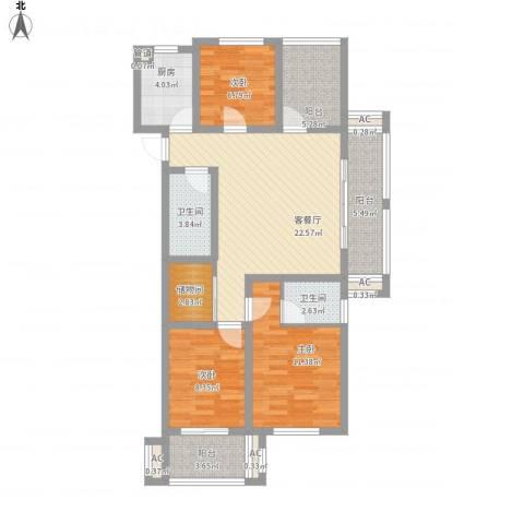 易居公馆3室1厅2卫1厨118.00㎡户型图