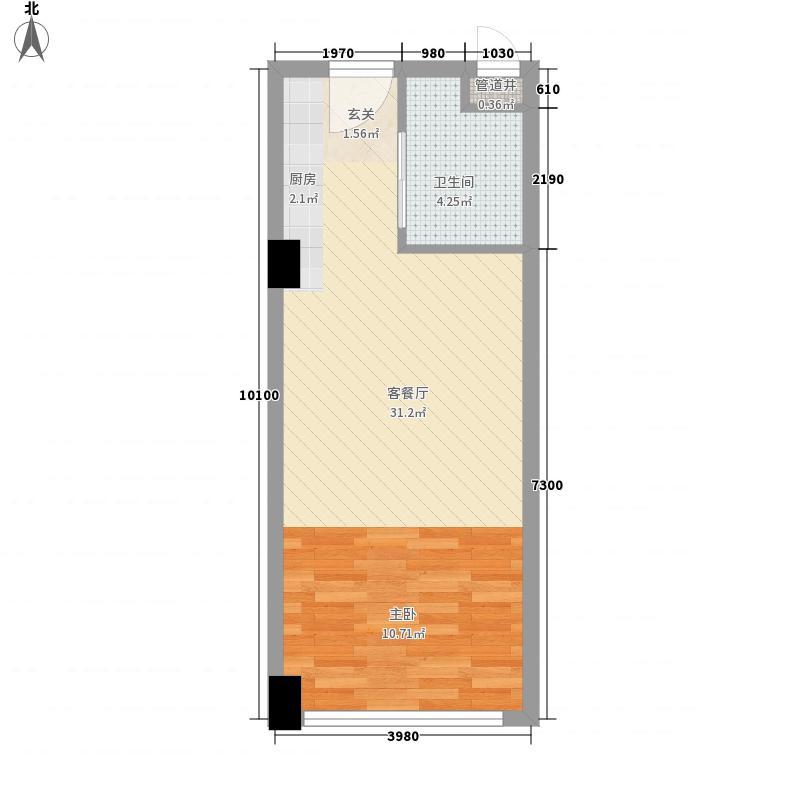 亚胜铂第公馆55.00㎡E户型1室1卫1厨