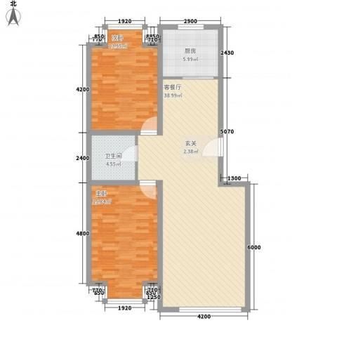 凤凰城2室1厅1卫1厨79.31㎡户型图