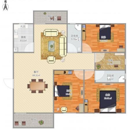 中海康城国际6919834室1厅2卫1厨210.00㎡户型图