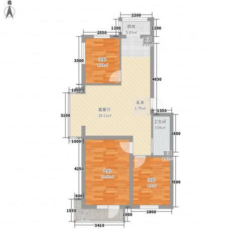 山元大厦3室1厅1卫0厨93.00㎡户型图