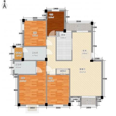荷花家园4室1厅2卫1厨140.00㎡户型图