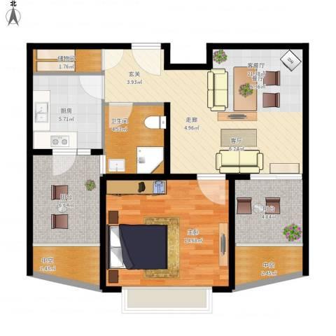 九亭明珠苑三期1室1厅1卫1厨91.00㎡户型图