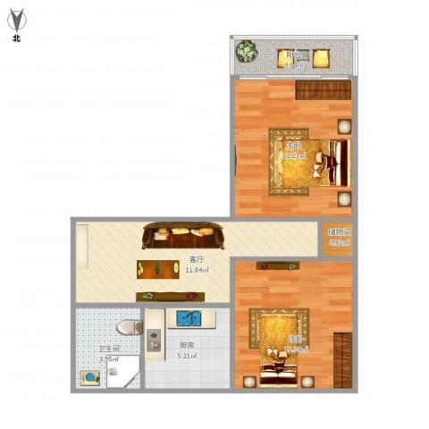风雷新村2室1厅1卫1厨66.00㎡户型图