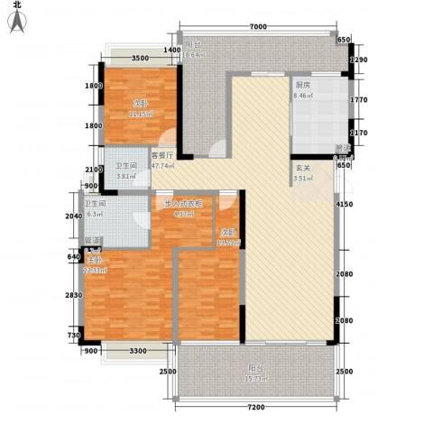 博海豪园3室1厅2卫1厨209.00㎡户型图