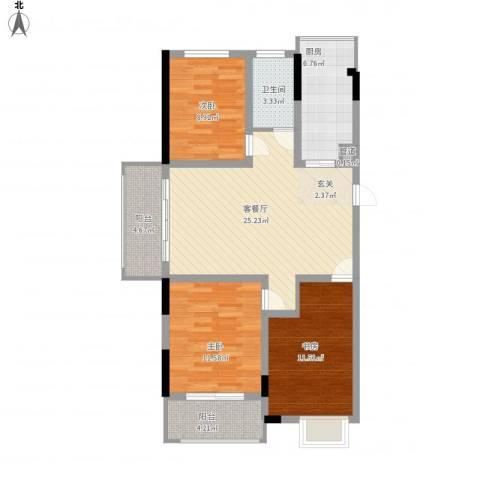 怡景花园3室1厅1卫1厨110.00㎡户型图