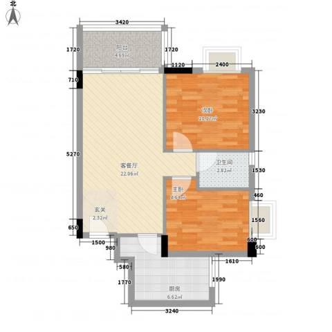 龙日花苑三期2室1厅1卫1厨71.00㎡户型图