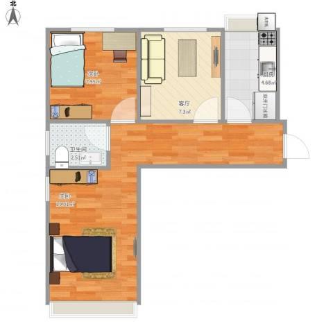 康庄新城2室1厅1卫1厨57.00㎡户型图