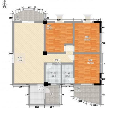 荷花家园3室1厅2卫1厨155.00㎡户型图