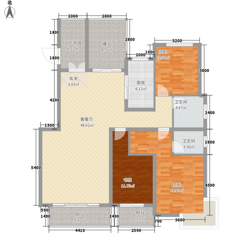 蓝山印象小区148.58㎡3#标准层A2户型2厅2卫1厨