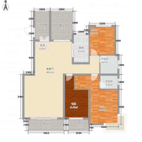 蓝山印象小区3室1厅2卫1厨143.73㎡户型图