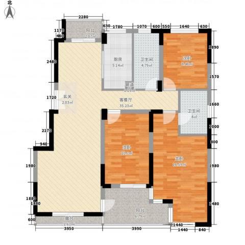 南山巴黎印象3室1厅2卫1厨127.00㎡户型图
