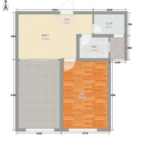 丁豪蓝调国际1室1厅1卫1厨87.00㎡户型图