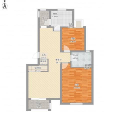 证大家园四期2室1厅1卫1厨105.00㎡户型图