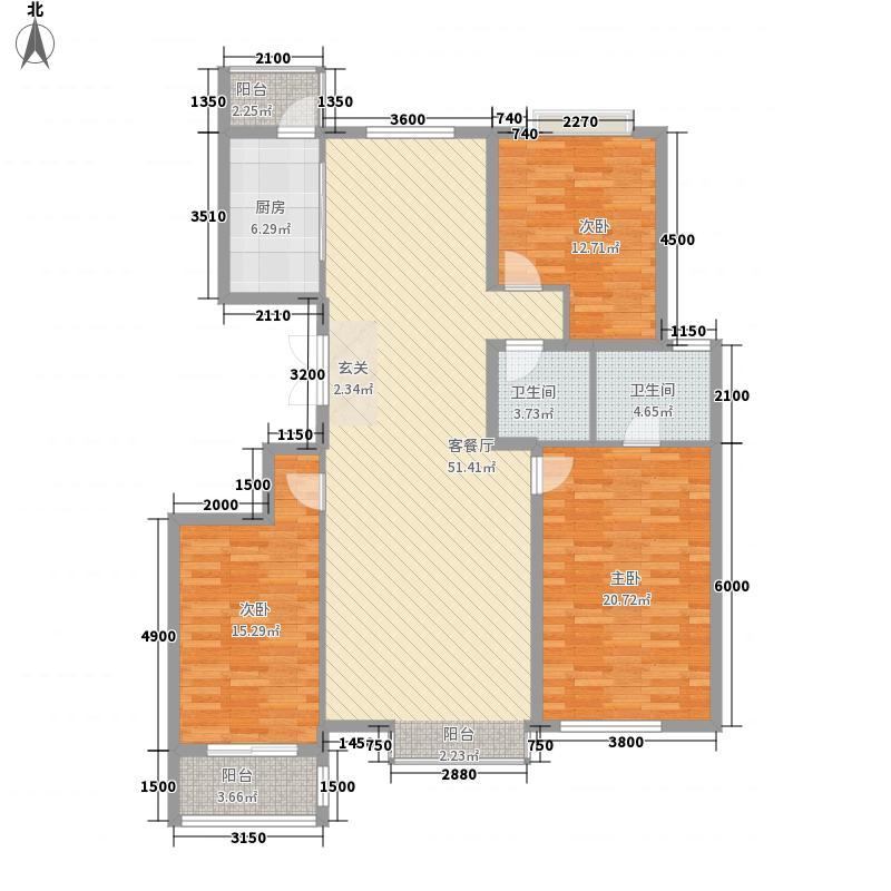 银丰花园163.00㎡15#楼精装房户型3室3厅2卫1厨