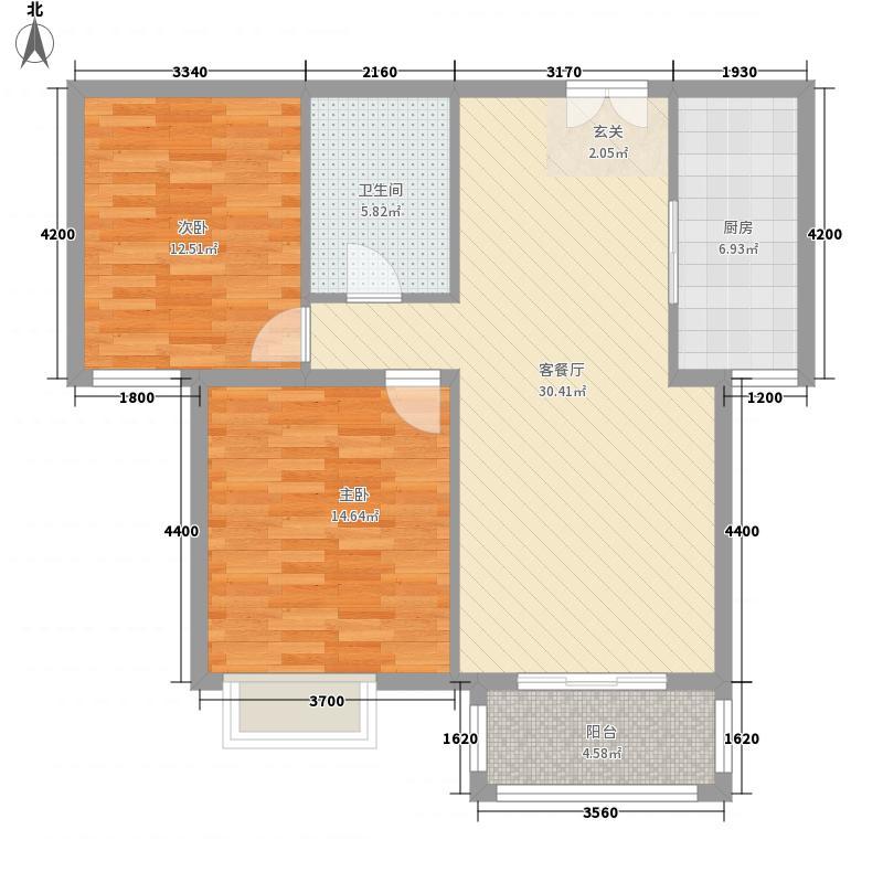 银丰花园18.00㎡B3户型2室2厅1卫1厨