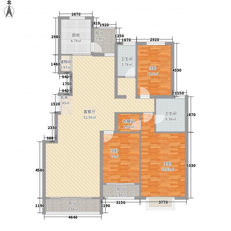 银丰花园178.00㎡11#楼D3户型3室2厅2卫1厨
