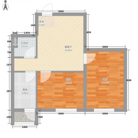 廊桥国际2室1厅1卫1厨44.29㎡户型图