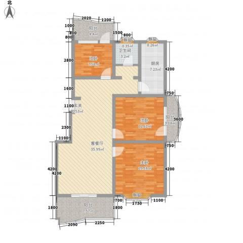 九九花园3室1厅1卫1厨114.00㎡户型图