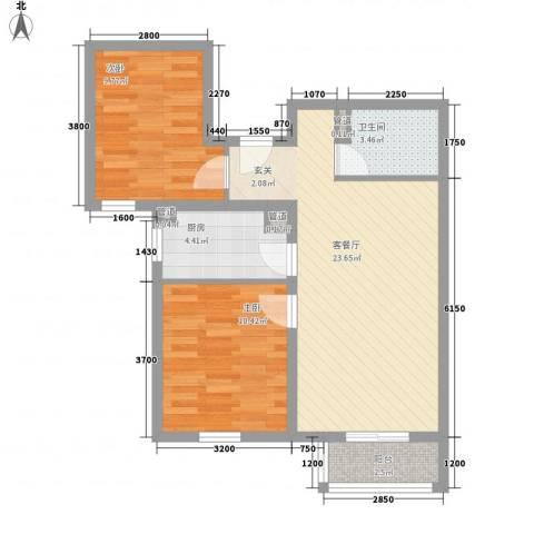 北星花园2室1厅1卫1厨79.00㎡户型图