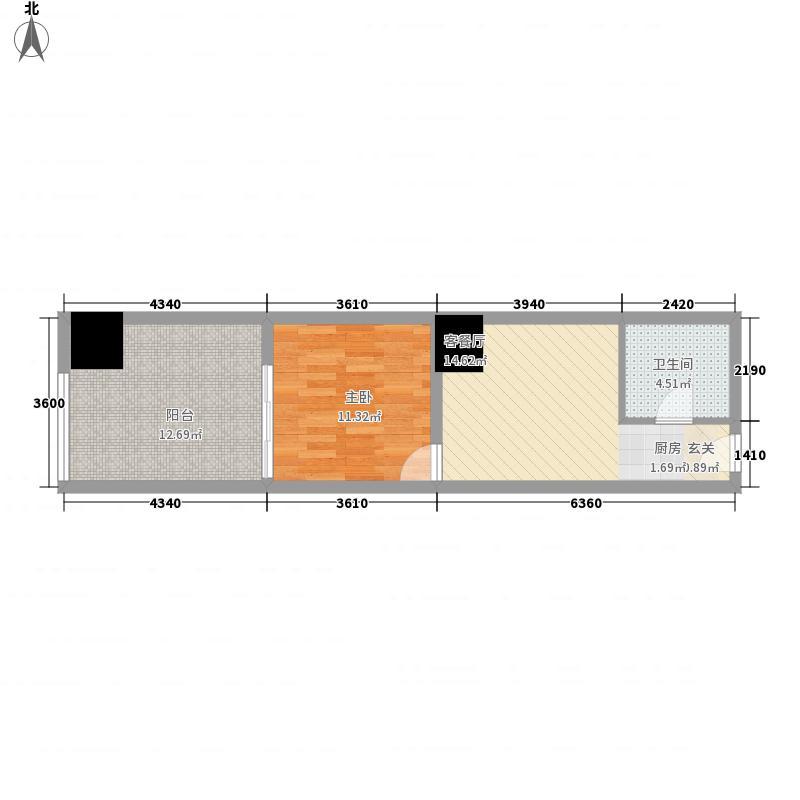嘉年华国际公寓55.00㎡轻舞飞扬户型2室1厅