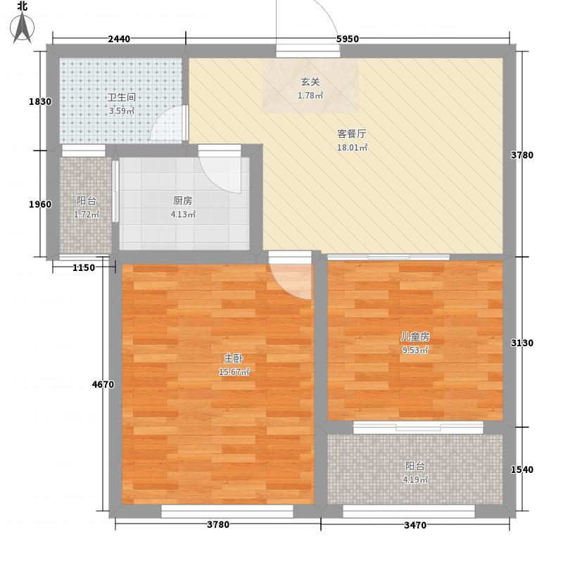 丁豪蓝调国际82.00㎡D户型2室1厅1卫1厨