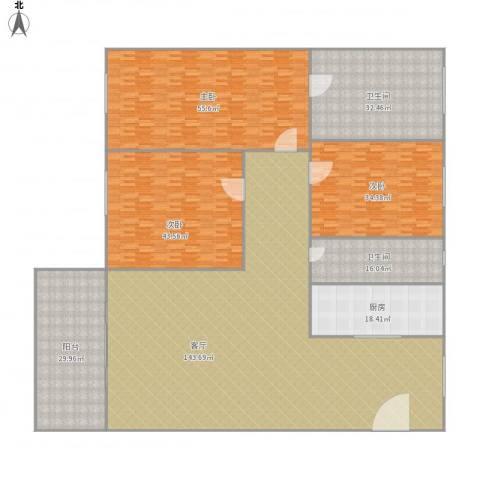 新华苑二期(广场1号)3室1厅2卫1厨485.00㎡户型图