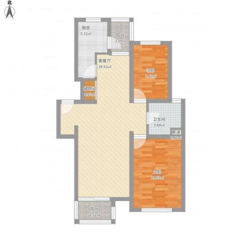 证大家园四期2室1厅1卫1厨95.00㎡户型图