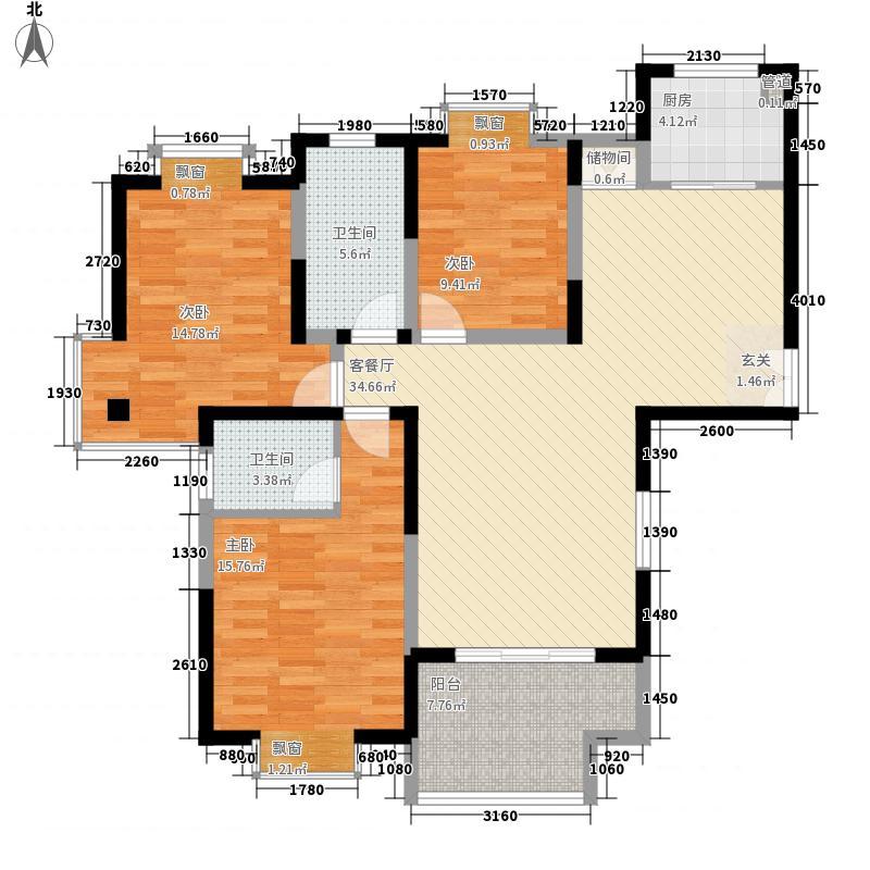 我家山水瑞雪苑14.00㎡户型3室2厅2卫
