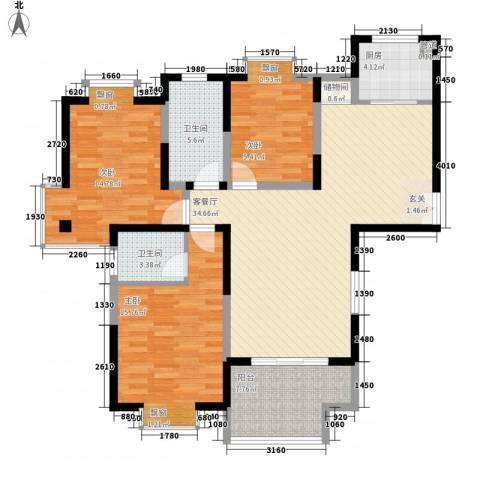 我家山水瑞雪苑3室1厅2卫1厨96.17㎡户型图