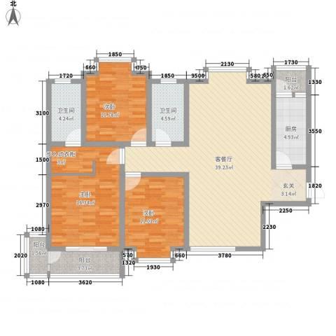 北星花园3室1厅2卫1厨142.00㎡户型图