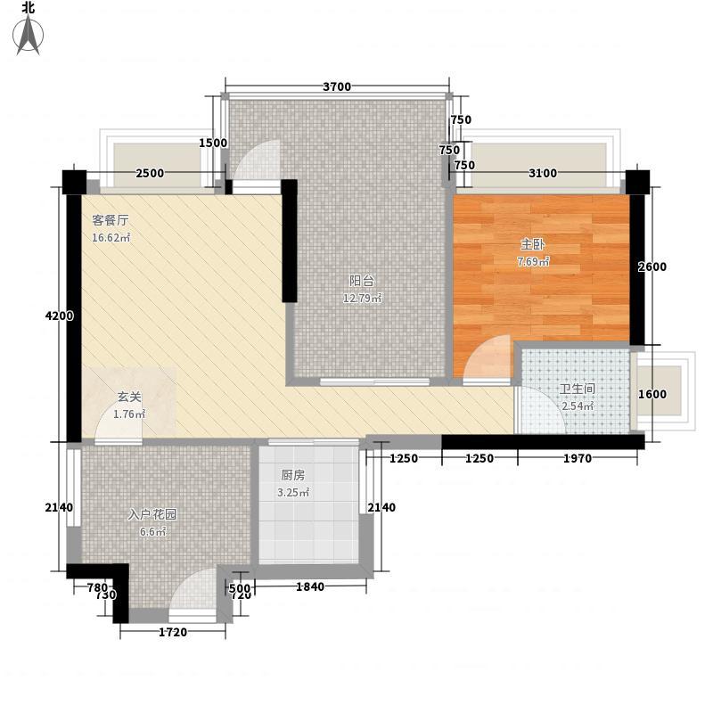 木马花园58.20㎡3栋B户型1室1厅1卫